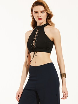 Ericdress plain halter lace-up weste