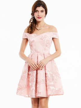Ericdress off-the-shoulder lace-up appliques cocktailkleid