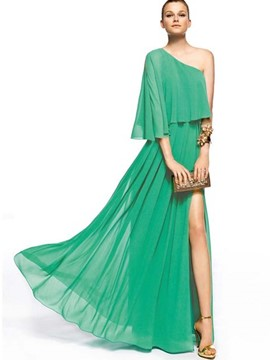 Ericdress Oblique Collar Solid Color Expansion Maxi Dress