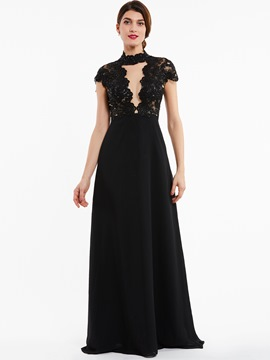 Ericdress High Neck Zipper-Up Beaded A Line Evening Dress