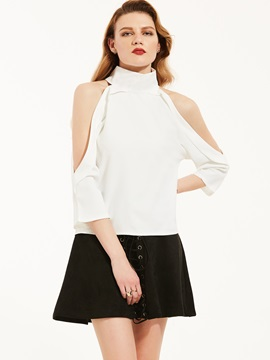 Ericdress Turtleneck Plain Cold Shoulder Blouse
