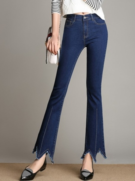 Ericdress Low Waisted Flared Dark Blue Women's Jeans
