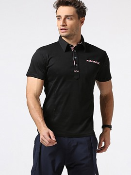 Ericdress Lapel Patched Short Sleeve Slim Men's T-Shirt
