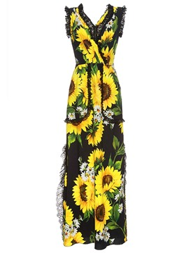Ericdress V-Neck Flower Print Wide Leg Women's Jumpsuits