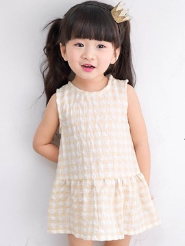 Ericdress Plaid A-Line Sleeveless Baby Girls Dress