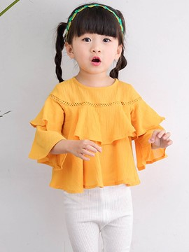 Ericdress Flare Sleeve Falbala Tow Coloer Girls Shirt