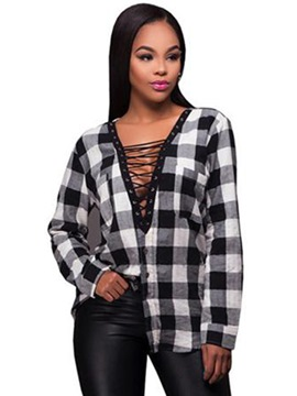 Ericdress Lace Up Plaid Single-Breasted Blouse