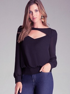 Ericdress Hollow Chiffon Blouse