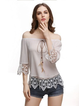 Ericdress Flexible Lace Crochet Blouse