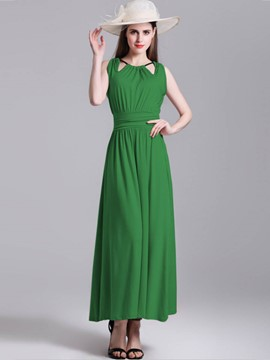 Ericdress Hollow Pleated High-Waist Maxi Dress