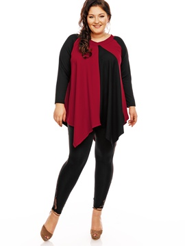 Ericdress Plus Size Color Block Asymmetric Knitwear