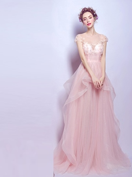 Ericdress A-Line Cap Sleeves Long Prom Dress With Court Train