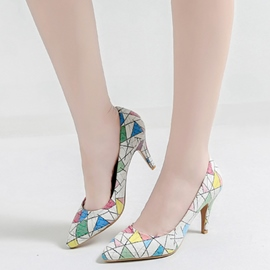 Ericdress Delicate White Geometric Print Pumps
