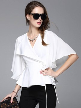 Ericdress Solid Color Ruffle Sleeve Blouse