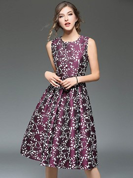 Ericdress European Floral Sleeveless A Line Dress