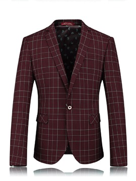 Ericdress Plain Plaid One Button Slim Men's Blazer