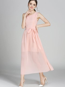 Ericdress Back Button Hollow Chiffon Maxi Dress
