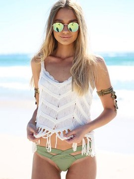 Ericdress Plain Tassel Knitting Beach Vest