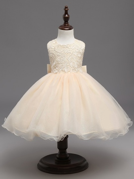 Ericdress Sleeveless Lace Bowknot Knee Length Flower Girl Dress