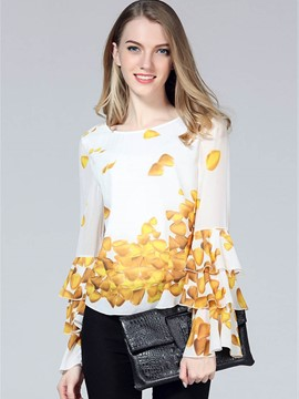 Ericdress Printed Ruffle Sleeve Blouse