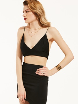 Sheath Spaghetti Straps Backless Tank Top
