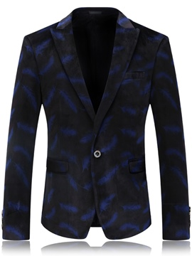 Ericdress Feather Print Vogue One Button Claasic Men's Blazer