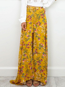 Ericdress High Waisted Yellow Flower Print Chiffon Women's Skirts