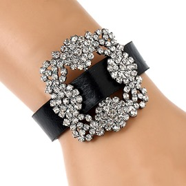 Ericdress OL Style Diamante Square Leather Bracelet