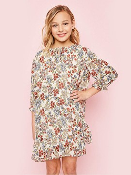 Ericdress Floral Printing Ruffles Girls Dress