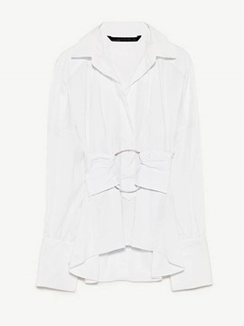 Ericdress Ring Lapel Pleated Blouse