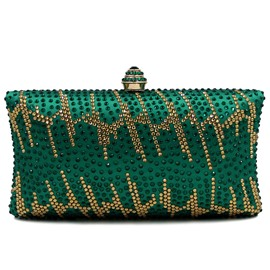 Ericdress Green Deluxe Rhinestone Floral Evening Clutch