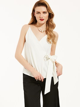 Slim Plain Spaghetti Straps Backless Tank Top