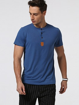 Ericdress Button Round Neck Short Sleeve Men's T-Shirt