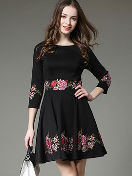 Ericdress Embroidery Appliques Pleated A Line Dress