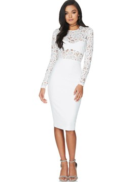 Ericdress Lace Patchwork See-Through Sheath Dress