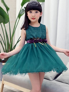 Ericdress Tow Color Lace Patchwork Sleeveless Girls Tutu Dress