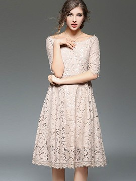 Ericdress Plain Hollow Half Sleeves Lace Dress