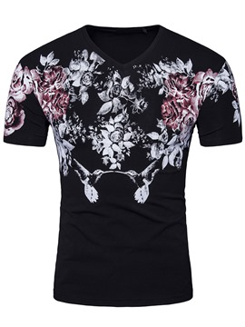 Ericdress Floral Print Short Sleeve Men's T-Shirt