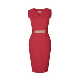 Ericdress V-Neck Solid Color Patchwork Bodycon Dress