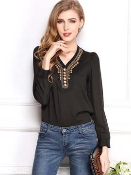 Ericdress Bead V-Neck Chiffon Blouse