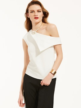 Ericdress Slim Plain Oblique Collar Blouse