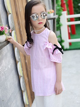 Ericdress Stripe Cold Shoulders Bow Girls T-Shirt