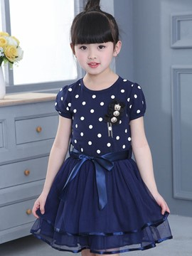 Ericdress Polka Dots Patchwork Puff Sleeve Bow Girls Day Dress