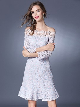 Ericdress Ladylike Backless Ruffles Mermaid Lace Dress