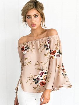 Ericdress Floral Print Off-Shoulder Blouse