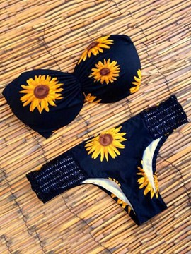 Ericdress Sexy Strapless Sunflower Print Bikini Set