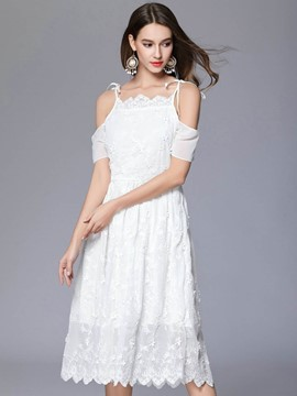 Ericdress Sweet Platinum Plated Spaghetti Strap Lace Dress