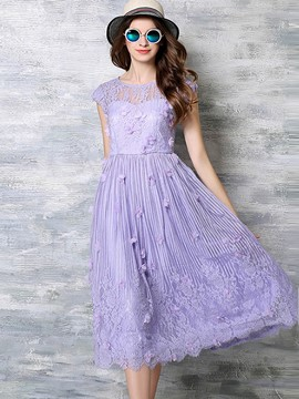 Ericdress Appliques Mesh Pleated Lace Dress