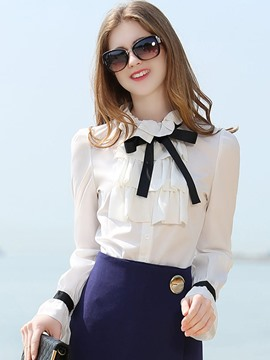 Ericdress Ruffle Bow Tie White Blouse