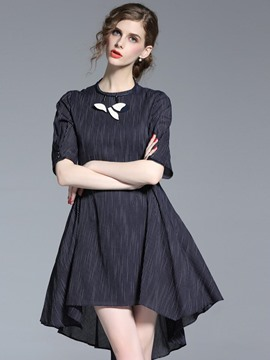 Ericdress Stripe Scoop Half Sleeves Asymmetric A Line Dress